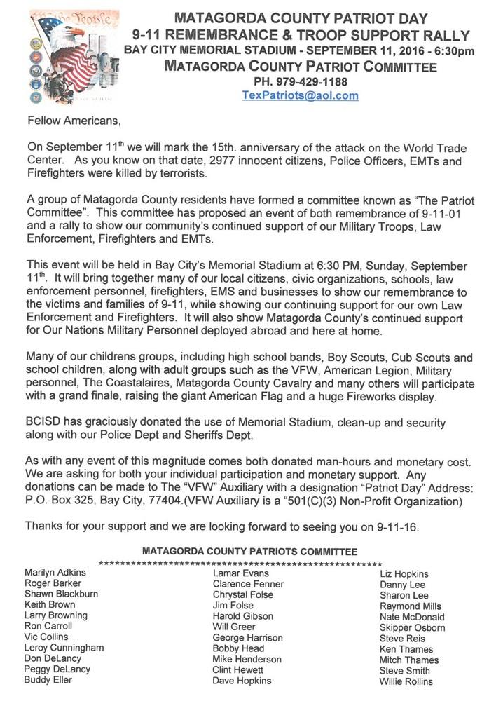 Matagorda County Patriot Day